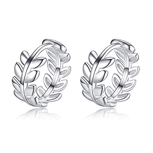 (Cartilage Tiny Small Hoop Earrings for Women Girls 925 Sterling Silver Leaf Round Tragus Piercings Endless Hoops 8mm)