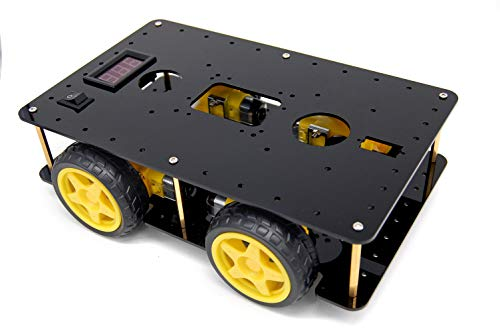 BONATECH Four-Wheel Drive Smart Car Chassis 4WD Car Tracking Obstacle Avoidance for Arduino Raspberry Pi Robot Chassis Speed Measurement