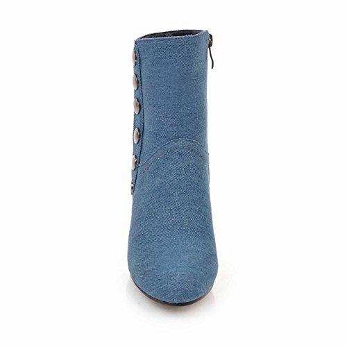 Charm Foot Womens Fashion Zip Tacco Grosso Tacco Alto Stivaletti Azzurro