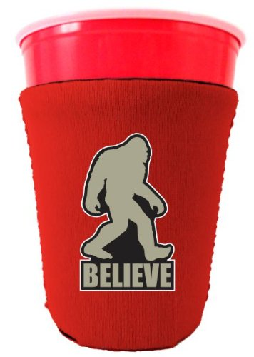 Coolie Junction Bigfoot Believe Funny Solo Cup Coolie Orange