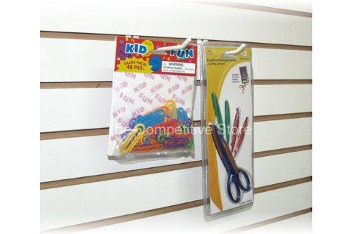 6'' Slatwall Hooks For Slat Panel Display - 25 Pcs Box - 1/4'' Dia Wire - Standard Duty - White Color