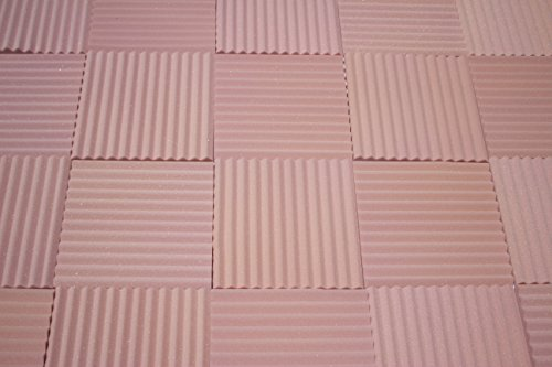 "Soundproofing Acoustic Studio Foam - Rosy Beige Color - Wedge Style Panels 12""x12""x1"" Tiles - 6 Pack"
