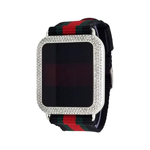 (Techno Pave 14K White Gold Plated Iced Out White Stones Touch Screen Luxury Designer Style Nylon Band Wrist Watch)