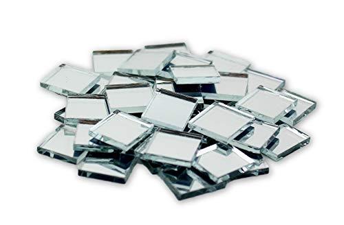 Glass Mosaic Square 1/2 (0.5 inch Small Mini Square Craft Mirrors Bulk 100 Pieces Mirror Mosaic Tiles)
