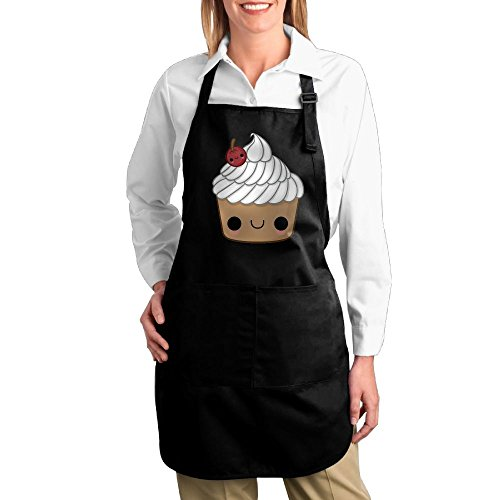 Dogquxio Chocolate Ice Cream Kitchen Helper Professional Bib Apron With 2 Pockets For Women Men Adults Black