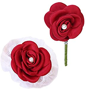 Aivanart Wedding Bridal Wrist Corsage and Boutonniere Brooch Set Silk Rose Flower Pearl Bracelet Bridesmaid Groom Prom Party Wine Red 63