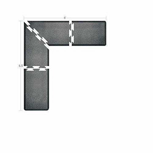 WellnessMats Puzzle Piece Collection 2 Foot Wide L Series Granite Steel Anti-Fatigue 6.5 x 6 Foot Mat