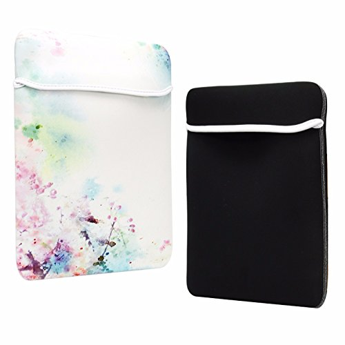 TOP CASE - Vibrant Summer Series Graphic Reversible Sleeve Bag Cover Compatible with Most 13 13-inch Laptop Notebook/MacBook/Ultrabook/Chromebook - with TOP CASE Mouse Pad - Cherry Blossom