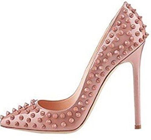 HarrowandSmith British Fashion Shop Damen Luxus Lexy Sexy Spitze Zehe-Stilett-Absatz-Pumpen-Kleid-Schuhe, elegante Niet beiläufige Clubbing Partei Gelegenheit Luxusgut Nackt