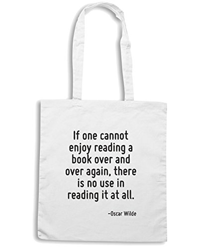 T-Shirtshock - Bolsa para la compra ENJOY0114 If one cannot enjoy reading a book over and over again, there is no use in reading it at all. Blanco