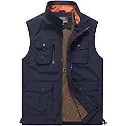 Gihuo Men's Utility Outdoor Multi Pockets Fishing Photo Journalist Sports Vest (Large, Navy)