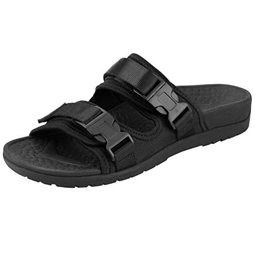 Everhealth Orthotic Sandals Women Buckle Slides Sandal Outdoor Slippers with Arch Support for Plantar Fasciitis (Black, 10 US Women/9 US Men)