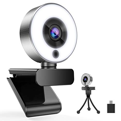 Belnk A9S Webcam mit Ringlicht, HD 1080P Webcam mit Mikrofon und Streaming Webcam, Plug & Play Webkamera, Einstellbare Helligkeit, USB Webcam für PC Desktop Laptop MAC(Webcam+Typ-C-Adapter)