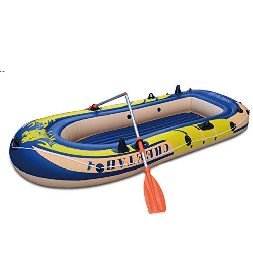 Inflatable Kayak Set, Canoe River Raft Paddle Float Boat for Fishing Dinghy PVC Float Pool for Outdoor Activities with Hand Air Pump (L, Multicolor)