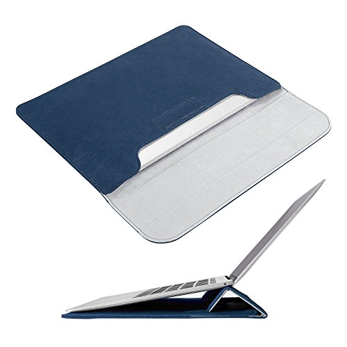 Macbook Pro 15.4 Inch Case Sleeve with Stand,iAlegant Ultrabook Bag PU Leather Protective Notebook Carrying Case Cover Only for 2016 Macbook Pro 15.4 Inch (Ink Blue)