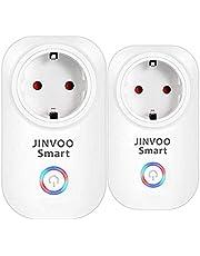 JinvooSmart 2 verpakkingen met wi - fi - smart - stopcontact afstandsbediening timer alle stekkers - keuze met google en ifttt gratis verzending naar huis wit 2-pak 110 * 62 * 35mm wit