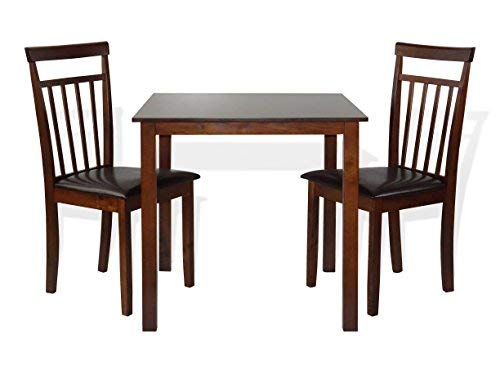 SunBear Furniture Dining Kitchen Set of 3 Square Table and 2 Classic Wood Chairs Warm in Dark Walnut by SunBear Furniture