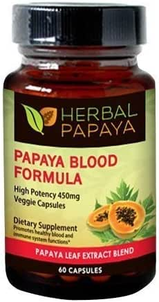 Papaya Leaf Blood Support Formula - Blood Platelet - Bone Marrow Support - Blood Cleanse and Detox - Immune Health - Herbal Remedy - 60/450mg Veggie Capsules - Made in USA by Herbal Goodness