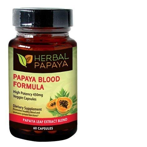 Papaya Leaf Blood Support Formula - Blood Platelet - Bone Marrow Support - Blood Cleanse and Detox - Immune Health - Herbal Remedy - 60/450mg Veggie Capsules - Made in USA by Herbal Goodness 450 Mg 60 Capsules