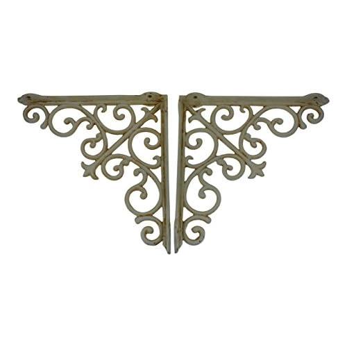 "Set of 2 Vintage Look 6 1//2/"" x 9/"" Cast Iron Butterfly Design Shelf Brackets"