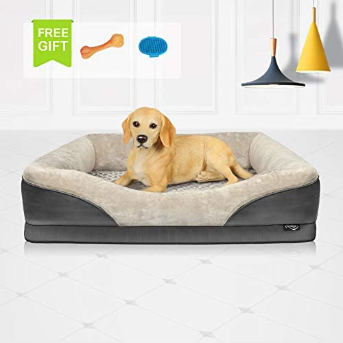 Niubya Large Orthopedic Dog Bed, Waterproof Memory Foam Pet Bed with Removable Washable Cover, Free Chewy Toy and Bath Brush, Great for Large Dogs and Cats, Grey, 38×28 Inches
