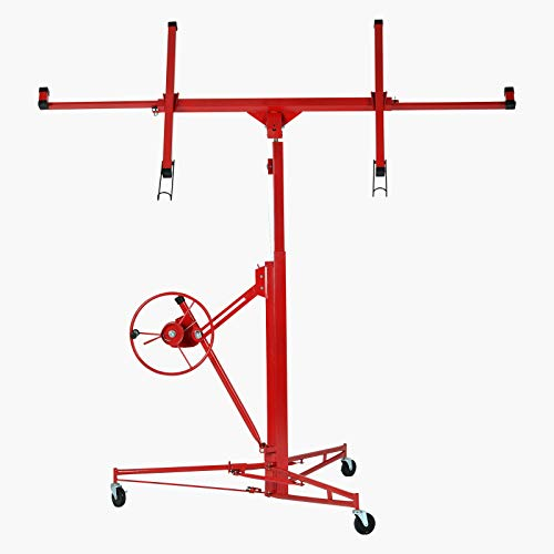 SUNCOO 11' Drywall Lift Rolling Lifter Panel Hoist Jack Lockable Caster Wheels Construction Tool, 150Lbs, ()