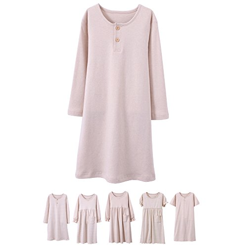 Abalacoco Girls Kids Organic Cotton Nightgown Sleepwear Dress Soft Home Dress Autumn Long Sleeve Soft Wear 4-12T (4-5 Years, 02#Solid)]()