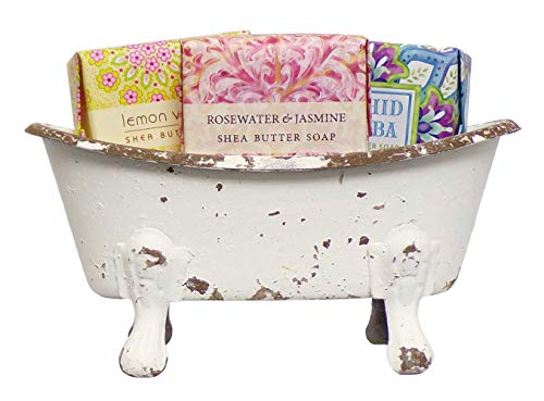 (Mini Metal Bathtub Gift Set with 3 Shea Butter Moisturizing Soaps (Multi Distress))