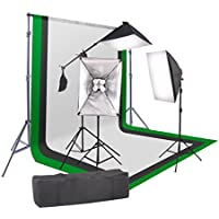 StudioFX 2400 Watt Softbox Continuous Photo Lighting Kit 16x24 + Boom Arm and 6x9 Black, White, Chromakey green Backdrop with Support Stand for Photography Video Studio H9004SB-69BWG by Kaezi