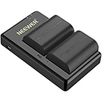 Neewer LP-E6 LP-E6N Replacement Rechargeable Battery Charging Set for Canon (2-Pack 2000mAh Camera Batteries and Micro USB Input Dual Charger, 100% Compatible with Original, Safety Protections)