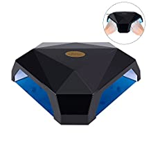 60W LED/UV Nail Dryer for Two Hands Simultaneously with Removable Tray, SKM Professional UV and LED Nail Lamp for Nail Gel, Gel Nail Dryer Lamp Manicure Tool for Home and Salon (Style 02# - Black)