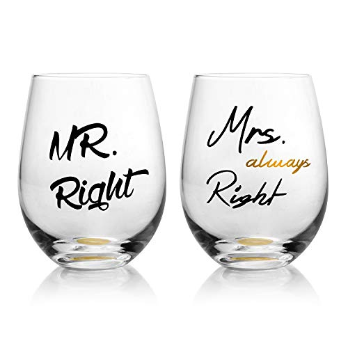 Mr. Right and Mrs. Always Right Wedding Wine Glasses, Funny Couple-Gifts for Bridal Shower-Newlyweds-Engagement and Anniversary (Set of 2) ()