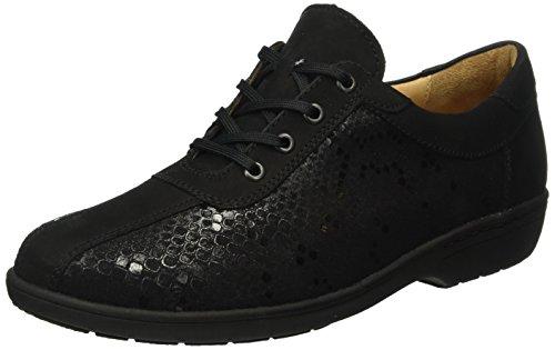 Ganter Anke, Weite G, Zapatos de Cordones Brogue para Mujer Negro - Schwarz (schwarz 0100)