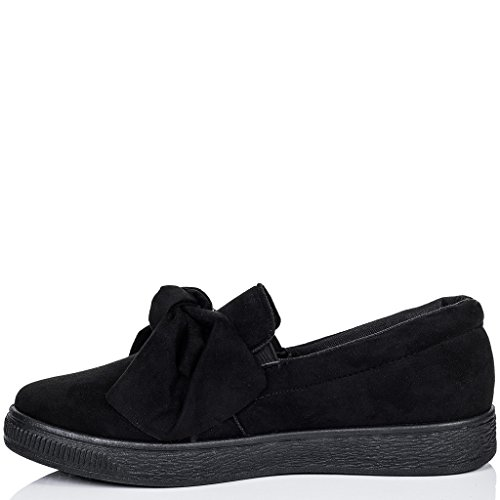 SPYLOVEBUY KEFIR Women's Platform Bow Flat Loafer Shoes Black Suede Style mdYmySCHM