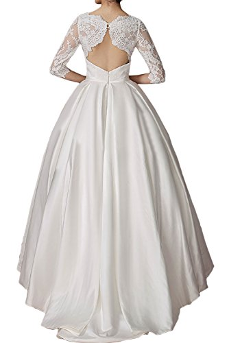 Rund mit Halbarm Hochzeitskleider Romantisch Neu Spitze Satin Abendkleider 2017 Dunkelblau Lang Elfenbein Partykleider Ivydressing BwqEx7PAA