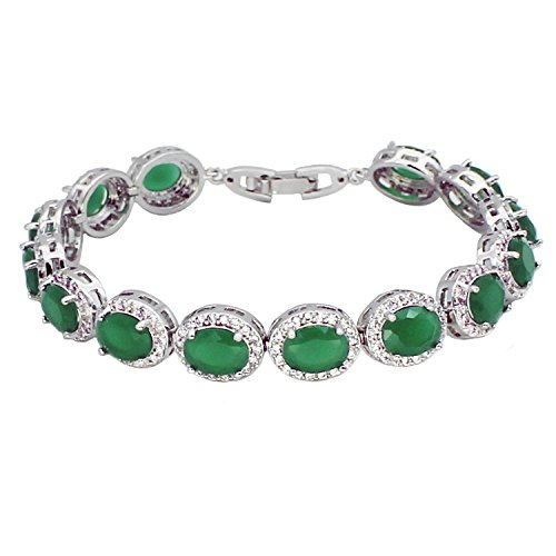 Hermosa Oval Ladies Tennis Bracelet Sapphire Ruby Emerald White Topaz Silver 7 inch - Ruby Sapphire Bracelet Emerald