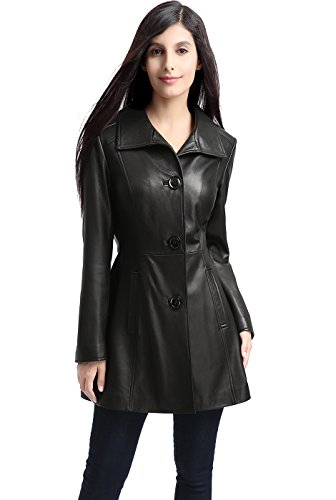 - BGSD Women's Belle New Zealand Lambskin Leather Walking Coat - S Black