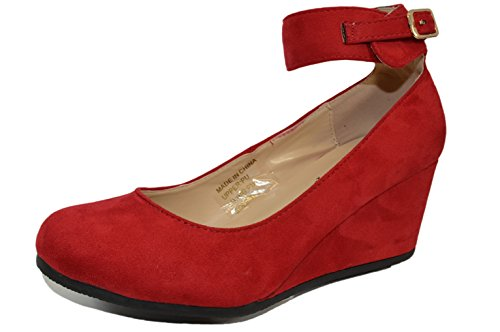 (HapHop Women's Almond Toe Ankle Strap Faux Suede Wedge Pump Shoes, Red, 8.5 M US)