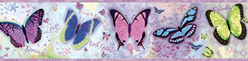 Chesapeake BBC94062B Kingston Butterflies Toss Wallpaper Border, Purple