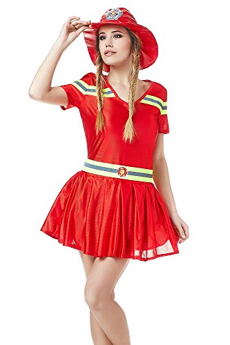 Gown Short Sleeved Costumes (Adult Women Hot Firefighter Halloween Costume Sexy Fire Girl Dress Up & Role Play (Small/Medium))