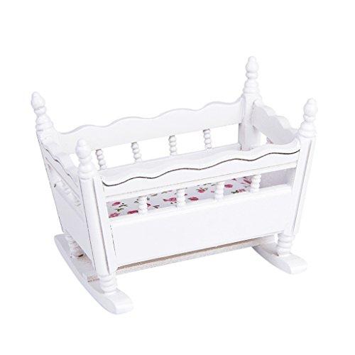 (Homyl 1/12 Dollhouse Miniature Furniture Wood Nursery Cradle Baby Crib Bedroom Accessories Decor)