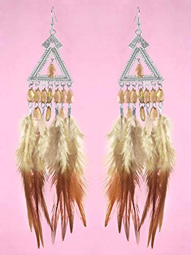 1 Pair Downy Feather Earrings Cute Bead Silver Triangle Ornament Noble New Arrive - Playboy Circles