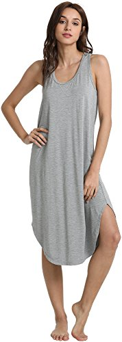 GYS Women's Racerback Bamboo Nightgown, Heather Grey, Small