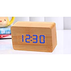 P46 Digital Wooden Digital Clock, Blue LED and Bamboo Color, with Alarm Clock, Date and Tempature, Wood Look Digital Clock, Unique Design for Clocks with Tempature