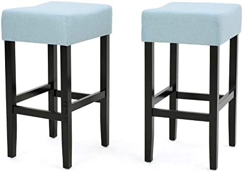 Christopher Knight Home Lopez Fabric Backless Counterstools, 2-Pcs Set, Light Blue