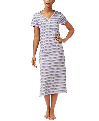 Charter Nightgown Club Cotton (Charter Club Women's V-Neck Henley-Style Printed Nightgown (X-Small, Purple Stripe))