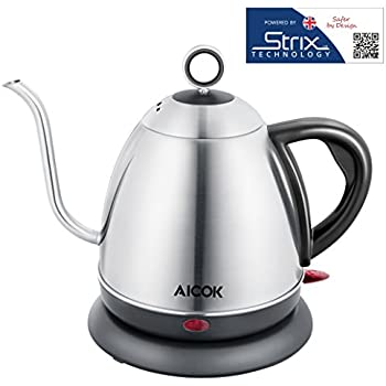 Aicok Electric Kettle Drip Free Gooseneck Kettle Accuracy Pour Over Coffee Kettle, 1.0L Water Kettle for Coffee and Tea Full Stainless Steel Interior BPA-FREE, 1000W