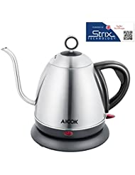 Aicok Electric Gooseneck Kettle, Electric Drip Coffee Kettle for Pour Over Coffee and Tea, Strix Control, Accurate Flow Control, Fully Stainless Steel Interior, 1L, 1000W, Silver