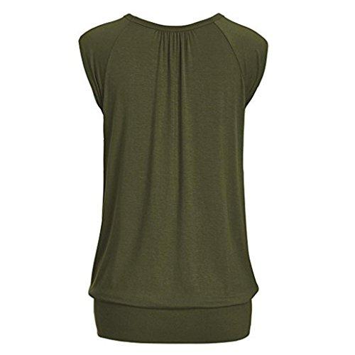MCYs Elegant Damen Übergröße Lose V Neck Kurzarm Einfarbig Top Pleated Falten Bluse T-Shirt Oberteile Sommerbluse Army Grün 66R1rI