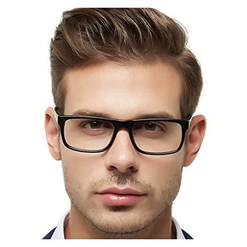 Eyeglasses Acetate - OCCI CHIARI Men Casual Full-Rim Acetate Eyeglasses Frames With Clear Lenses MELE (Black, 54)